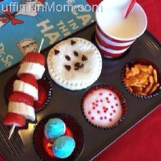 Dr. Seuss themed lunch in a muffin tin