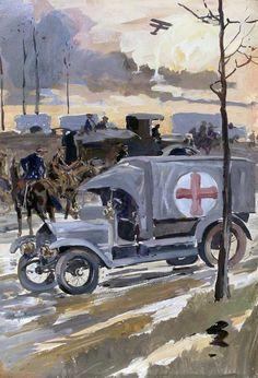 MILITARY-AMBULANCE-FIRST-WORLD-WAR...Charles Walter Simpson 1914 1918, Ww1 Art, Army Medic, Ghostwriter, World War One, First Art, Edwardian Era, War Paint, Military Art