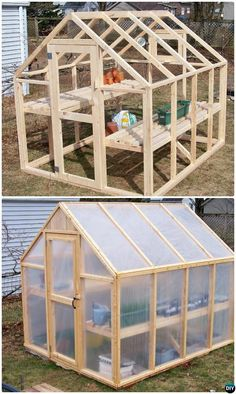 How to make the small greenhouse? There are some tempting seven basic steps to make the small greenhouse to beautify your garden. Diy Greenhouse Plans, Cheap Greenhouse, Backyard Greenhouse, Greenhouse Wedding, Homemade Greenhouse, Diy Small Greenhouse, Greenhouse Film, Pallet Greenhouse, Garden Projects