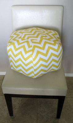 18 Ottoman Pouf Floor Pillow Yellow Chevron Zig Zag by aletafae, $85.00