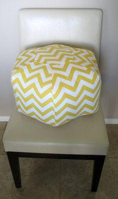 18 Ottoman Pouf Floor Pillow Yellow Chevron Zig Zag by aletafae, $85.00