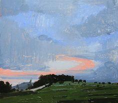Dusk on Lost Dog Hill Original Landscape Painting on Panel