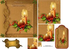 Golden christmas with pyramage and tag on Craftsuprint designed by Wendy Jones - Golden christmas with pyramage and tagand blank sentiment - Now available for download!