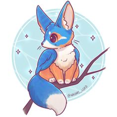 Animal Drawings ✨Mixing it up with a Kingfisher Fennec Fox combo!✨ (I thought the colours would be fun) Just imagining a teeny tiny brightly coloured… - Cute Kawaii Drawings, Cute Animal Drawings, Anime Kawaii, Kawaii Art, Kawaii Chibi, Cute Creatures, Fantasy Creatures, Fox Drawing, Chibi Drawing
