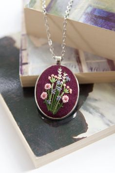 Pink Flower Necklace. Embroidery Pendant. Floral by AMEhandmade