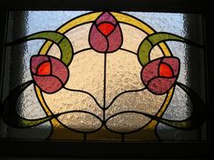 Full Colour Art Nouveau Style Leaded Window