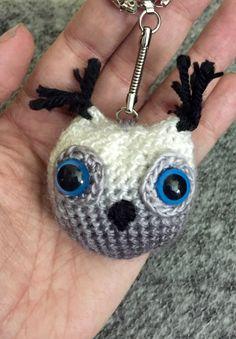 Adopt-a-Creature: Amade-who-who-whoooos (Owl keychain) Owl Keychain, Adoption, Creatures, Stitch, Christmas Ornaments, Holiday Decor, Amigurumi, Xmas Ornaments, Full Stop