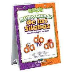 """Teach Spanish syllables and vocabulary in 25 lessons and activities.  Color photographs and illustrations enhance every lesson.  Free-standing, 52-page Big Book measures 16""""L x 22""""H and features write-on/wipe-off pages, spiral binding, and sturdy easel base.  Also includes assessment tools for each lesson.  Math, science and social studies activities are integrated throughout the book.  Complements the <a…"""