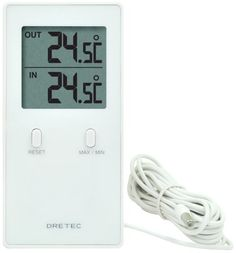 DRETEC 室内室外温度計 「レクタ」 ホワイト O-236WT