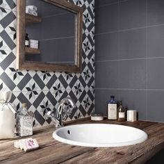 Carreau de ciment Belle époque noir, l.20.0 x L.20.0 cm #leroymerlin #carreauxdeciment #carrelage #salledebains #bathroom #ideedeco #madecoamoi