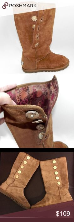 AUTH UGG AUSTRALIA LO PRO BOOTS Beautiful pair of UGG boots with 5 side wooden buttons and a colourful signature UGG  lining, wear them folded or you decide, several way of wearing them ugg australia Shoes Winter & Rain Boots