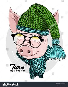 Vector pig with glasses, green knitted hat and green scarf. Hand drawn illustration of dressed piggy. Pig Images, Knitted Hats, Crochet Hats, Country Paintings, Christmas Hat, Christmas Pictures, Pigs, Hand Drawn, How To Draw Hands