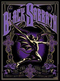 Black Sabbath - Jan 20 2016 - The End tour poster Rock Band Posters, Rock Band Logos, Black Sabbath, Heavy Metal Art, Tin Metal, Kunst Poster, Poster Design, Flyer Design, Design Art