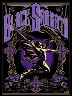 Black Sabbath - Jan 20 2016 - The End tour poster Concert Rock, Hard Rock, Kunst Poster, Poster S, Rock Logos, Black Sabbath The End, Rock And Roll, Rock Band Posters, Festival Posters
