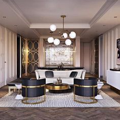 Glamorous modern pent house! What an incredibly luxurious gold design!