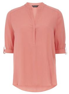 Non collar Rollsleeve top - Dorothy Perkins Petite Outfits, Shirt Outfit, Shirt Blouses, Blouses For Women, Fashion Online, Street Style, Coat, Mens Tops, Fashion Trends