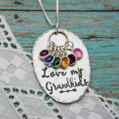 Love My Grandkids Necklace Grandmother Necklace Birthstone | Etsy