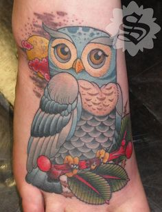 Owl Tattoo On Foot
