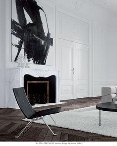 Paris apartment interior design by Jessica Vedel. / black and white / interior decor / decoration / living room