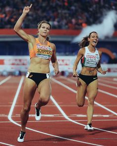 (Editors note: This image has had a digital filter applied to it) Dafne Schippers of the Netherlands celebrates winning the Womens 100m Final during day three of the 23rd European Athletics Championships at Olympic Stadium on July 8, 2016 in Amsterdam, Netherlands.