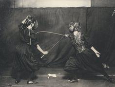 Two Edwardian women fencing, ca. 1908.  Getting my Inigo Montoya on this summer!