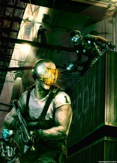 Cyberpunk, Dystopia, Dark City, Helmet, Future War, Mask, Future Soldier, Future Warrior, Sneak Attack! Splinter Cell concept art.