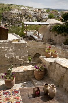 Hezen Cave Hotel - Turkey Outdoor view to old village Outdoor Living Areas, Outdoor Rooms, Outdoor Gardens, Outdoor Decor, Porches, Large Lanterns, Purple Home, Stone Houses, Mediterranean Style