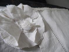Stores faits avec draps anciens en lin et 3 niveaux de relevage manuel : Textiles et tapis par annbcreation