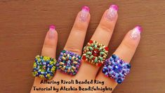 Seed bead jewelry Alluring Rivoli Beaded Ring ~ Seed Bead Tutorials Discovred by : Linda Linebaugh Beading Patterns Free, Jewelry Patterns, Beading Projects, Beading Tutorials, Bead Crafts, Jewelry Crafts, Beads Jewelry, Wire Earrings, Earrings Handmade