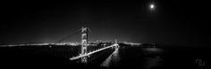 Golden Gate Bridge at night, San Francisco Skyline