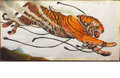 """Walton Ford. """"Trí Thông Minh"""" (2013). watercolor, gouache, ink and pencil on paper. 60 x 120 inches; 152.4 x 304.8 cm. Courtesy of the artist and Paul Kasmin Gallery"""