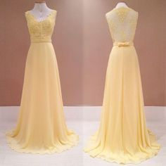 Light Yellow Lace And Chiffon Long Party Dress, Formal Gowns, Pretty Party Dresses Yellow Evening Dresses, Bridesmaid Dresses, Prom Dresses, Applique Dress, Groom Dress, Formal Gowns, Dress Formal, Beautiful Dresses, Marie