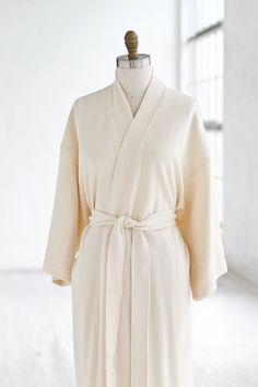 Cotton Kimono Robe Creme — LUXURY SPA ROBES | Spa Quality Robes in Terry Cloth, Plush Velour, Seersucker, Waffle & Cotton