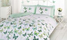 With printed fluttering butterflies adorning the face, these duvet sets reverse to a contrasting polka dot design