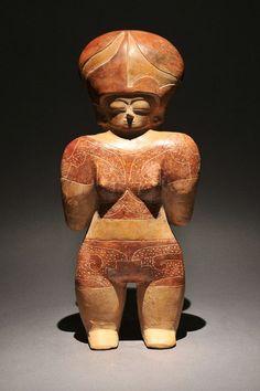 Chorrera Standing Female Figure, 1500 BC - 300 BC Location of Origin: Ecuador Medium/Materials: Terra Cotta