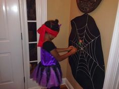 Pin the spider on the web, Halloween party game