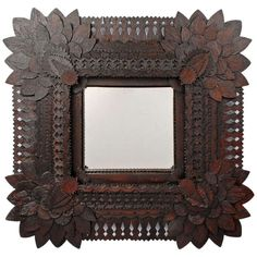 'Sunflower' Tramp Art Mirror with Tulip Edges | From a unique collection of antique and modern wall mirrors at http://www.1stdibs.com/furniture/mirrors/wall-mirrors/
