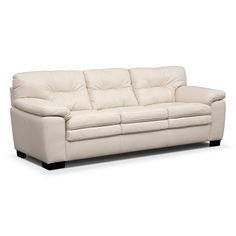 Legend White Leather Sofa - Value City Furniture White Leather Sofas, White Sofas, Value City Furniture, Living Room Furniture, Couch, Future, American, Hall Furniture, Settee