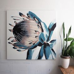 Anya Brock Protea paintings and prints as featured on The Block. Flor Protea, Protea Art, Canvas Art, Canvas Prints, Pictures To Paint, Flower Art, Painting & Drawing, Watercolor Art, Illustration