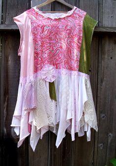 Eco Fashion Tattered  Dress/ UpCycled Rustic Mori by KheGreen