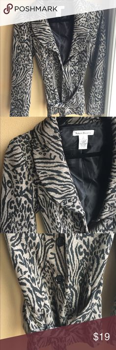 Sweater Jacket Animal print sweater jacket. Heavy weight material. Worn a couple times. Like new. Great way to dress up a casual outfit. Susan Bristol Sweaters