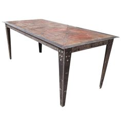 6.5 Ft Vintage Heavy Industrial Steel Wood Table | From a unique collection of antique and modern center tables at http://www.1stdibs.com/furniture/tables/center-tables/