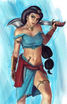 Disney Princesses As FightingWarriors - Jasmine Warrior Princess Disney Princess Warriors, Disney Princess Art, Warrior Princess, Disney Art, Disney Pixar, Disney Characters, Punk Disney, Disney Villains, Princess Pics