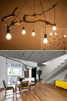 Natural Tree Branch And String Light Chandelier – iD Lights Perfect tree branch chandelier for your modern farmhouse lighting, living room, rustic, simple with nice light bulbs! Rustic Track Lighting, Modern Farmhouse Lighting, Farmhouse Lamps, Rustic Lamps, Modern Lamps, Industrial Lamps, Vintage Industrial, Rustic Farmhouse, Industrial Style