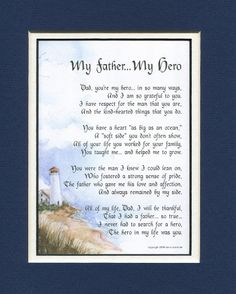 My Father, My Hero Poem (Fathers Day Gifts from Daughter)