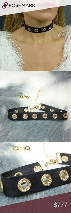 Edgy Choker NWOT Brand new Choker and earrings set.   Sassy and on trendy this faux leather band choker features rhinestone detail circle cutouts. Gold metal tones stud earrings included  Hook clourses and chain extention Jewelry Necklaces