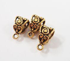 20pcs 13x7mm Brown Metal Grape Shape Craft Pendant Bail Connector Jewelry Making