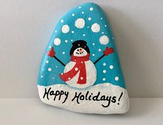 Happy Holidays Painted Rock Snowman Hand Painted Rock Snow