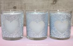 Here is a simple way to dress up ordinary, inexpensive votives to personalize your party or to give as a gift.  While I did theses for Va...