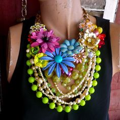 Cotswold II a statement necklace of English garden by bendywho, $256.00